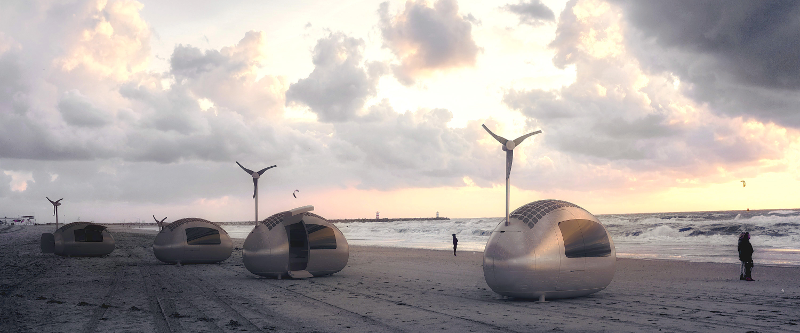 Ecocapsules on the Beach